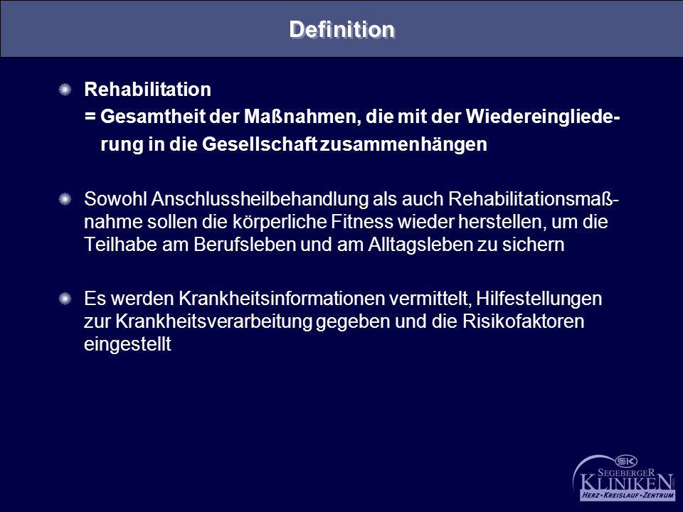 Definition Rehabilitation = Gesamtheit der Maßnahmen, die mit der Wiedereingliede- rung in die Gesellschaft zusammenhängen Sowohl Anschlussheilbehandl
