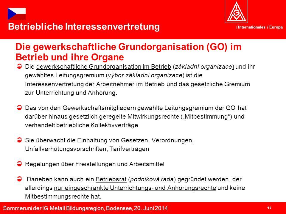 Sommeruni der IG Metall Bildungsregion, Bodensee, 20. Juni 2014 Internationales / Europa 12 Die gewerkschaftliche Grundorganisation (GO) im Betrieb un