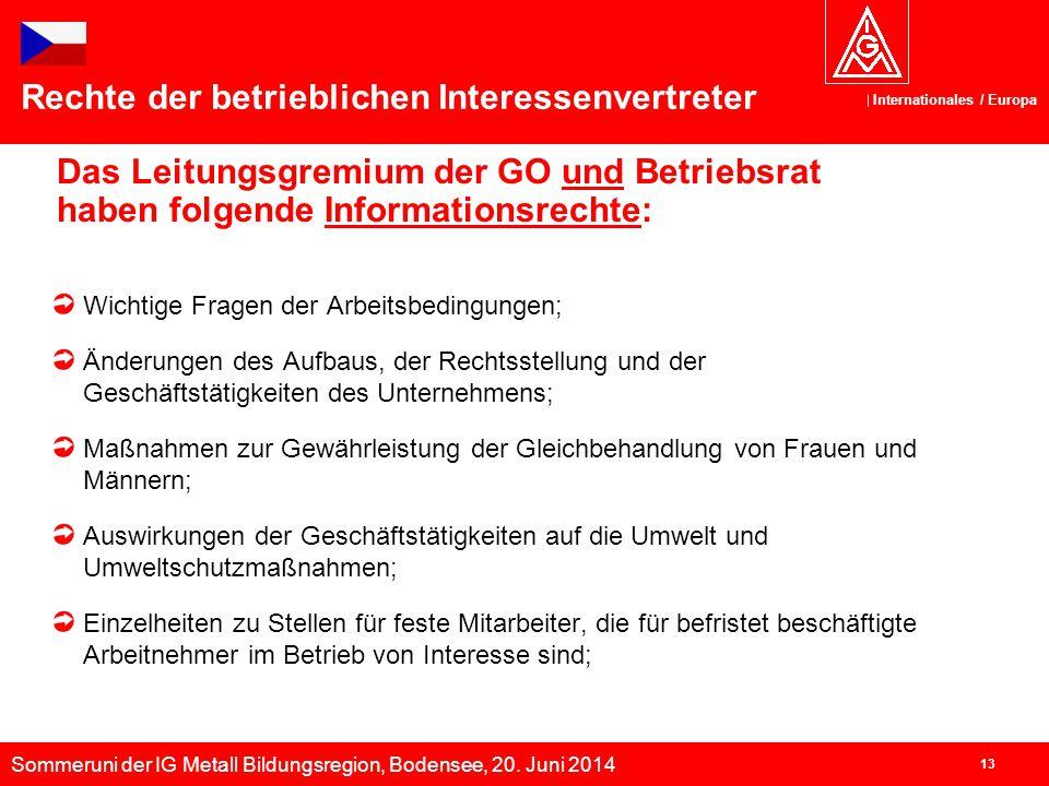 Sommeruni der IG Metall Bildungsregion, Bodensee, 20. Juni 2014 Internationales / Europa 13 Das Leitungsgremium der GO und Betriebsrat haben folgende