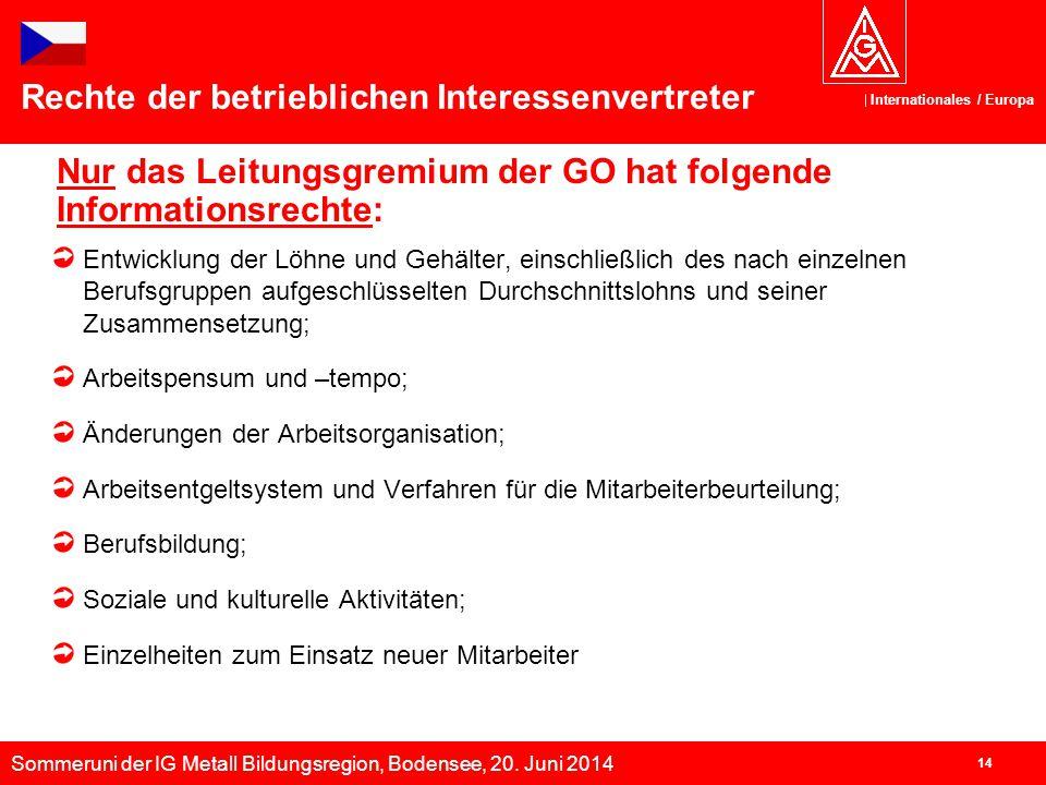Sommeruni der IG Metall Bildungsregion, Bodensee, 20. Juni 2014 Internationales / Europa 14 Nur das Leitungsgremium der GO hat folgende Informationsre