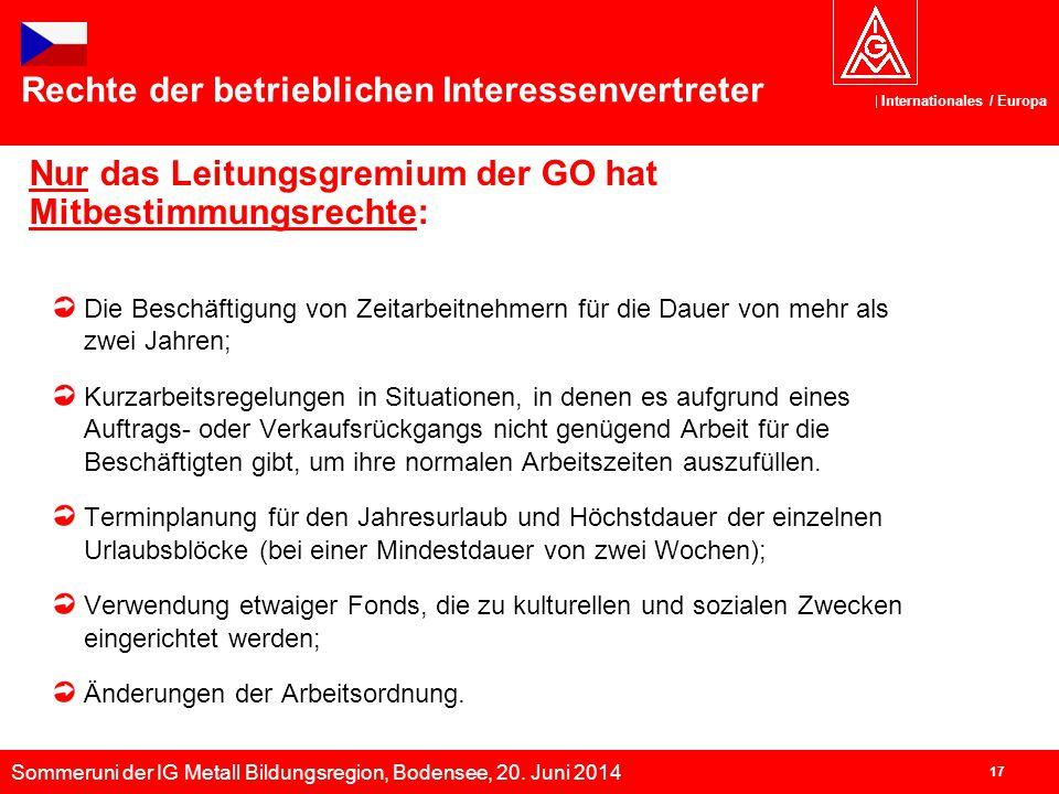 Sommeruni der IG Metall Bildungsregion, Bodensee, 20. Juni 2014 Internationales / Europa 17 Nur das Leitungsgremium der GO hat Mitbestimmungsrechte: D