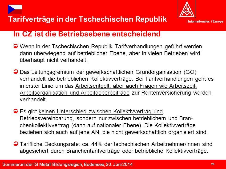Sommeruni der IG Metall Bildungsregion, Bodensee, 20. Juni 2014 Internationales / Europa 20 Tarifverträge in der Tschechischen Republik In CZ ist die