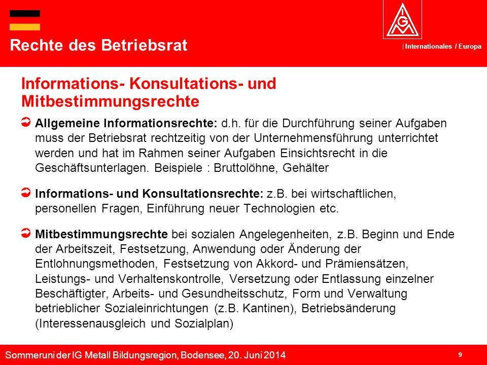 Sommeruni der IG Metall Bildungsregion, Bodensee, 20. Juni 2014 Internationales / Europa 9 Informations- Konsultations- und Mitbestimmungsrechte Recht