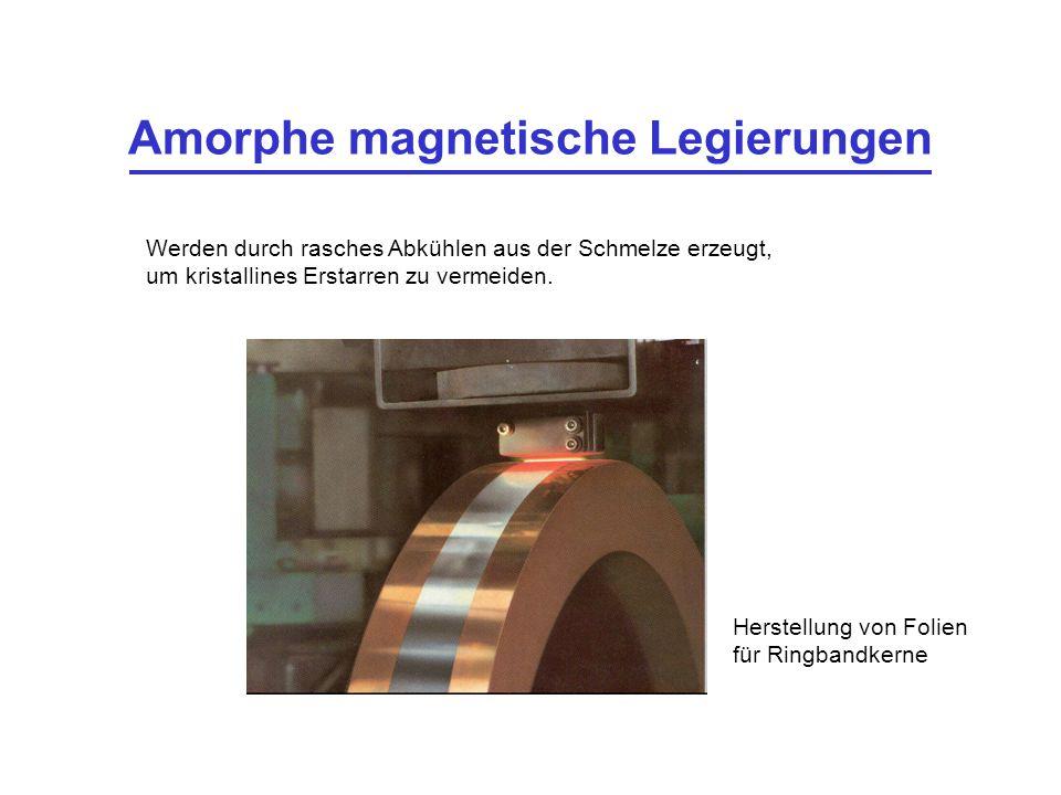 Amorphe magnetische Legierungen Werden durch rasches Abkühlen aus der Schmelze erzeugt, um kristallines Erstarren zu vermeiden. Herstellung von Folien