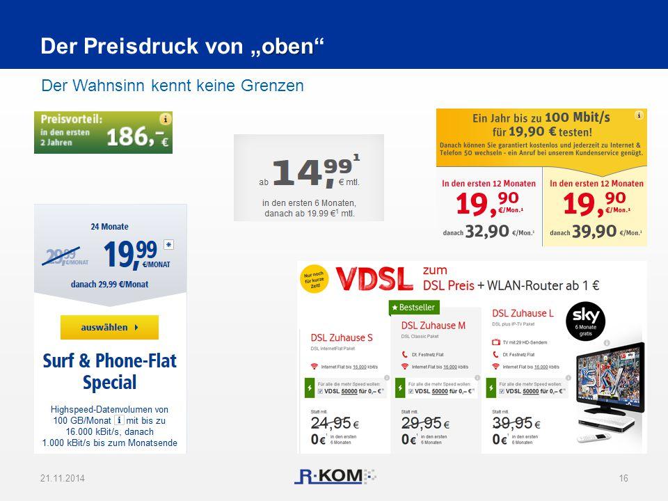 """21.11.201416 Der Wahnsinn kennt keine Grenzen oben Der Preisdruck von """"oben"""""""