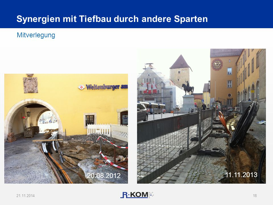 21.11.201418 Mitverlegung Synergien mit Tiefbau durch andere Sparten 11.11.2013 20.08.2012