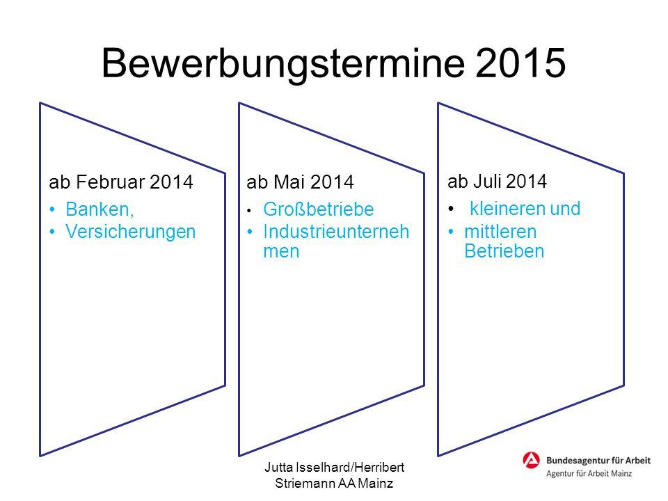 Bewerbungstermine 2015 ab Februar 2014 Banken, Versicherungen ab Mai 2014 Großbetriebe Industrieunterneh men ab Juli 2014 kleineren und mittleren Betr