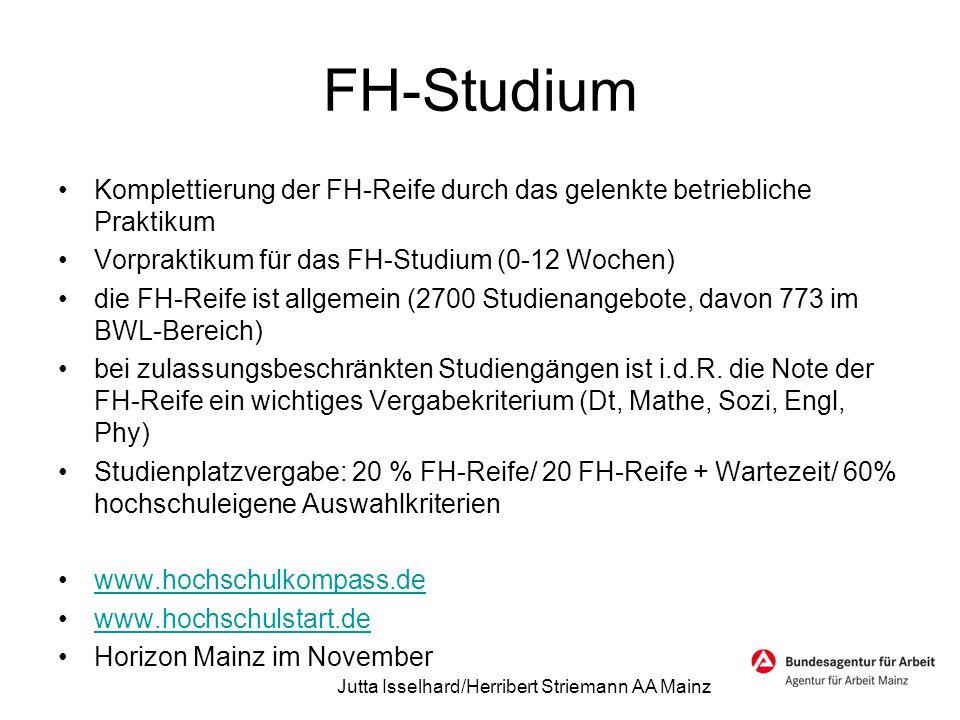 FH-Studium Komplettierung der FH-Reife durch das gelenkte betriebliche Praktikum Vorpraktikum für das FH-Studium (0-12 Wochen) die FH-Reife ist allgem