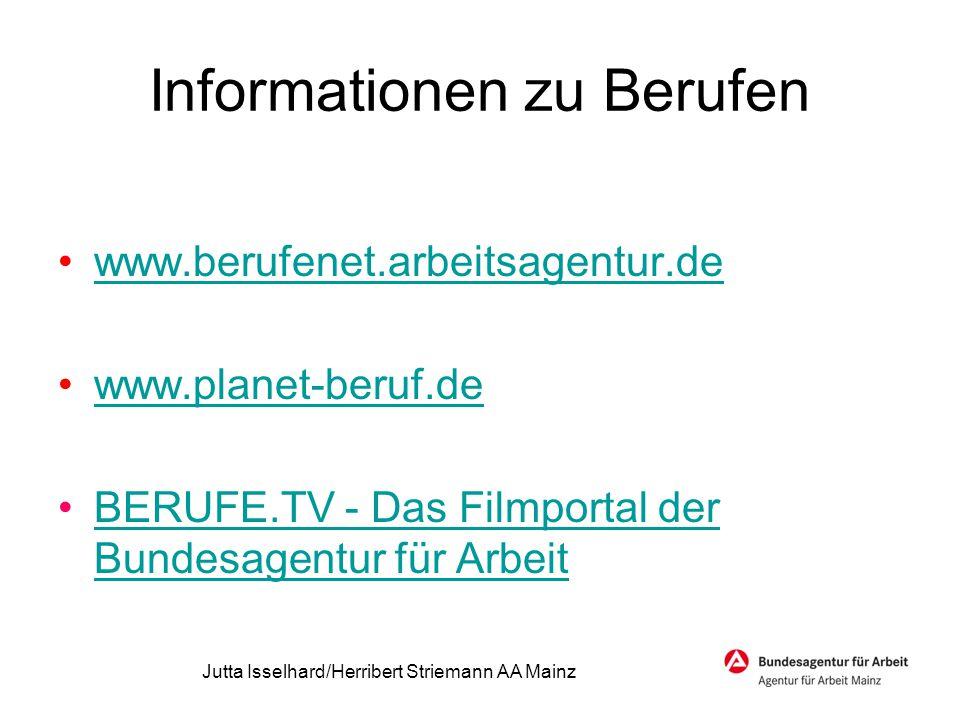 Informationen zu Berufen www.berufenet.arbeitsagentur.de www.planet-beruf.de BERUFE.TV - Das Filmportal der Bundesagentur für ArbeitBERUFE.TV - Das Fi