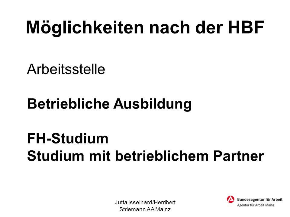 Möglichkeiten nach der HBF Arbeitsstelle Betriebliche Ausbildung FH-Studium Studium mit betrieblichem Partner Jutta Isselhard/Herribert Striemann AA M