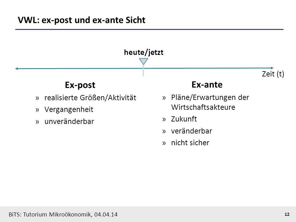 12 BiTS: Tutorium Mikroökonomik, 04.04.14 VWL: ex-post und ex-ante Sicht Ex-post »realisierte Größen/Aktivität »Vergangenheit »unveränderbar heute/jet