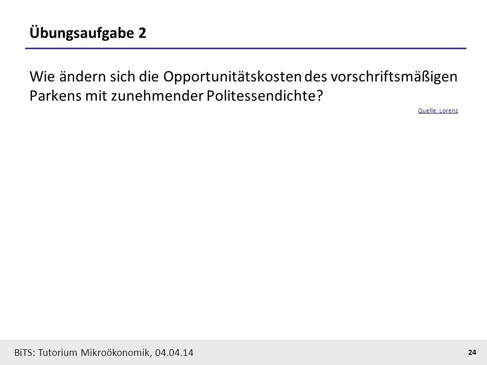24 BiTS: Tutorium Mikroökonomik, 04.04.14 Übungsaufgabe 2 Wie ändern sich die Opportunitätskosten des vorschriftsmäßigen Parkens mit zunehmender Polit