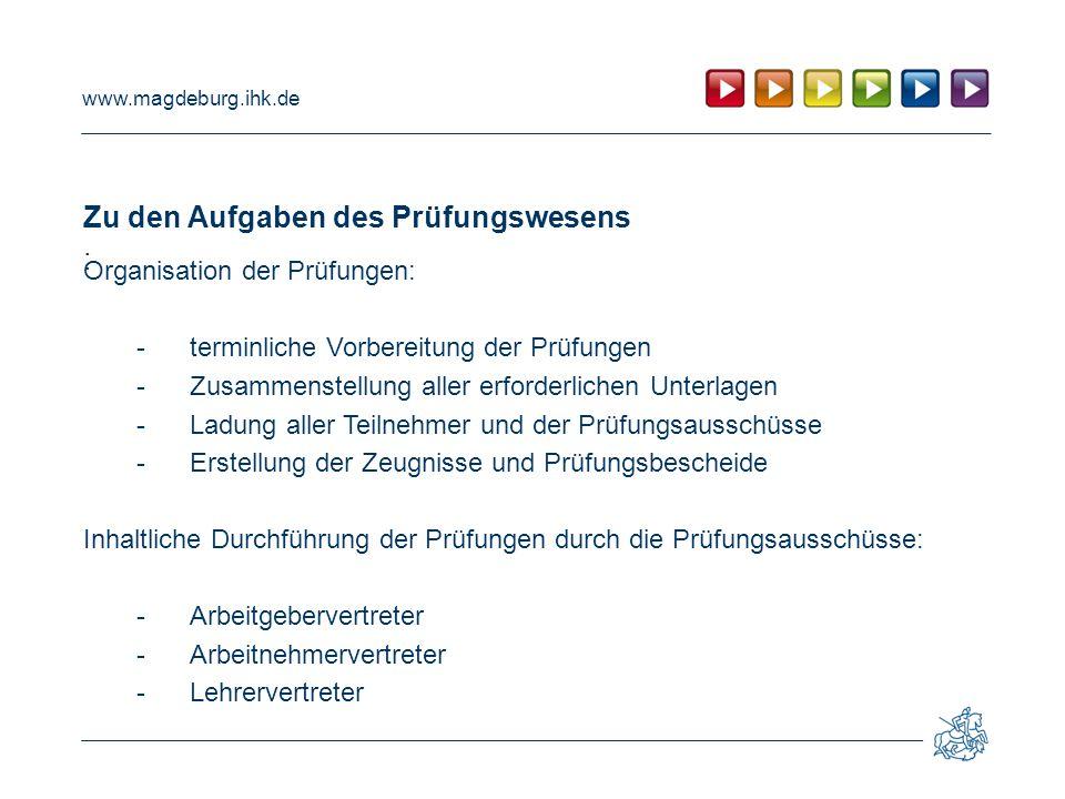 www.magdeburg.ihk.de Zu den Aufgaben des Prüfungswesens : Organisation der Prüfungen: -terminliche Vorbereitung der Prüfungen -Zusammenstellung aller