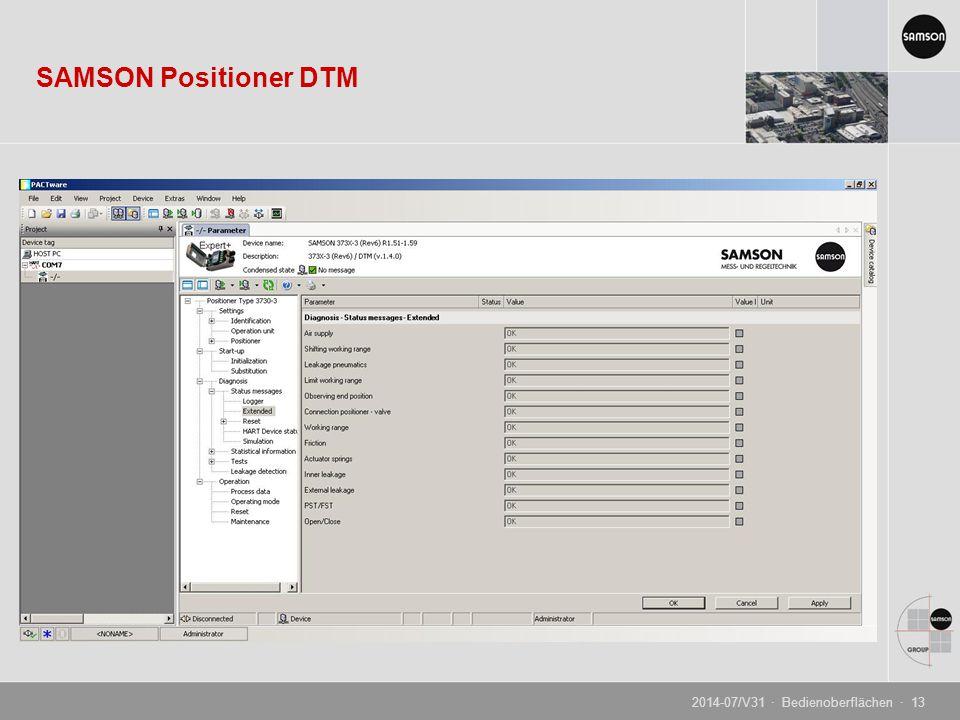 SAMSON Positioner DTM 2014-07/V31 · Bedienoberflächen · 13