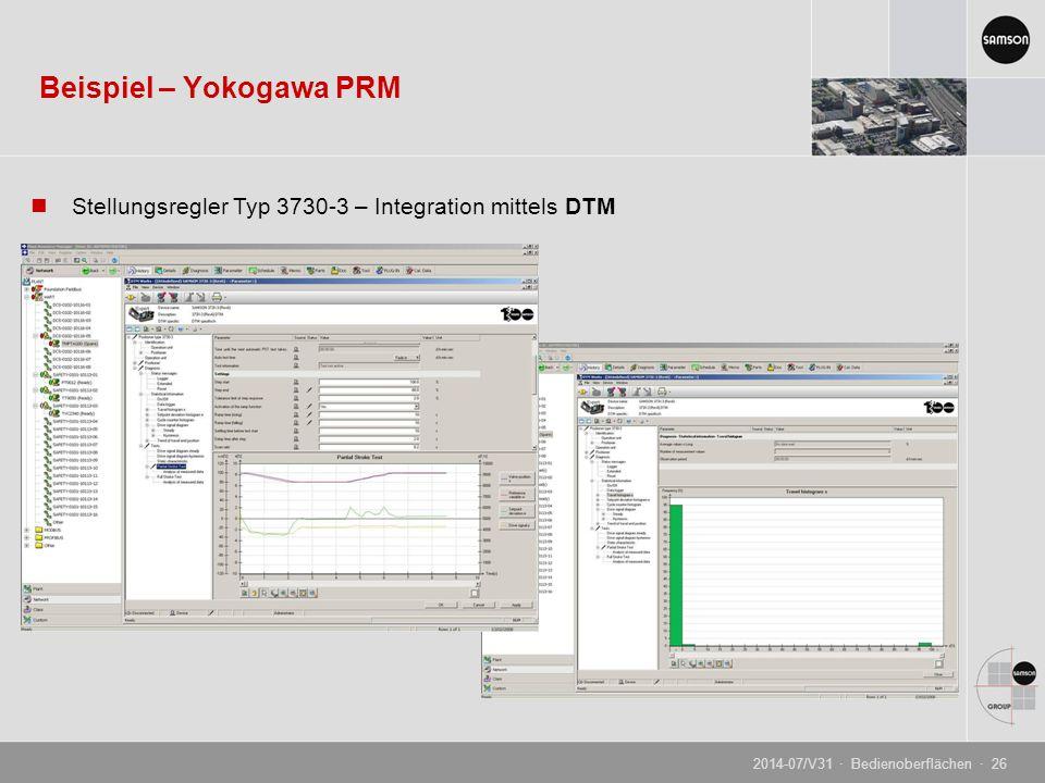 Beispiel – Yokogawa PRM Stellungsregler Typ 3730-3 – Integration mittels DTM 2014-07/V31 · Bedienoberflächen · 26