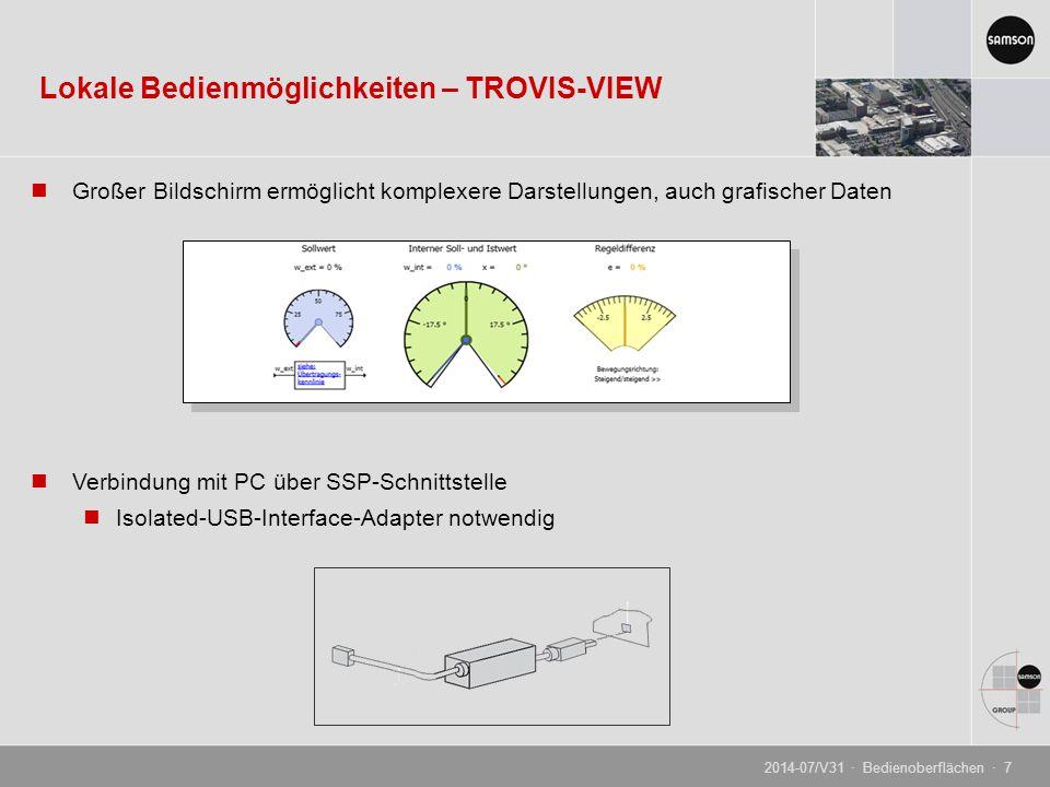 Großer Bildschirm ermöglicht komplexere Darstellungen, auch grafischer Daten Verbindung mit PC über SSP-Schnittstelle Isolated-USB-Interface-Adapter n