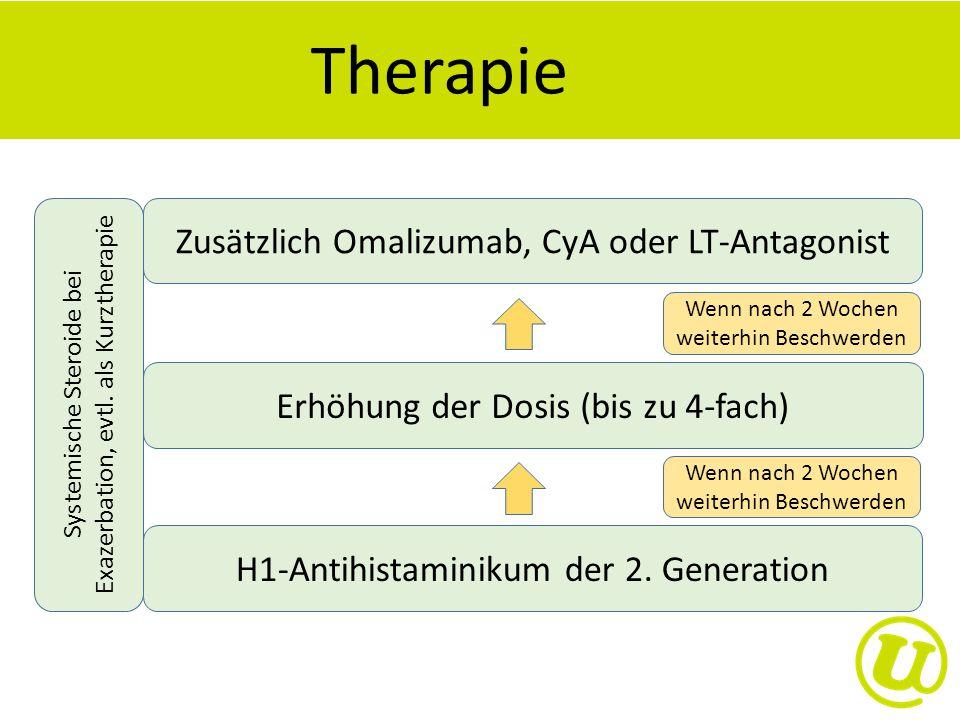 Therapie H1-Antihistaminikum der 2. Generation Erhöhung der Dosis (bis zu 4-fach) Zusätzlich Omalizumab, CyA oder LT-Antagonist Systemische Steroide b