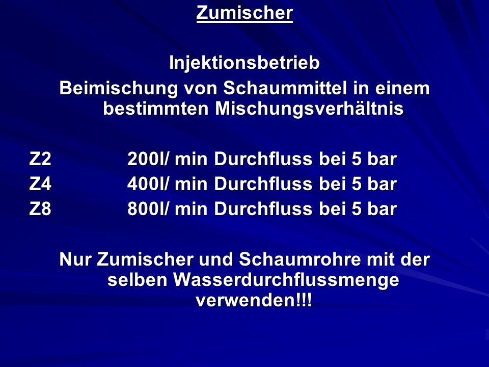 ZumischerInjektionsbetrieb Beimischung von Schaummittel in einem bestimmten Mischungsverhältnis Z2200l/ min Durchfluss bei 5 bar Z4400l/ min Durchfluss bei 5 bar Z8800l/ min Durchfluss bei 5 bar Nur Zumischer und Schaumrohre mit der selben Wasserdurchflussmenge verwenden!!!