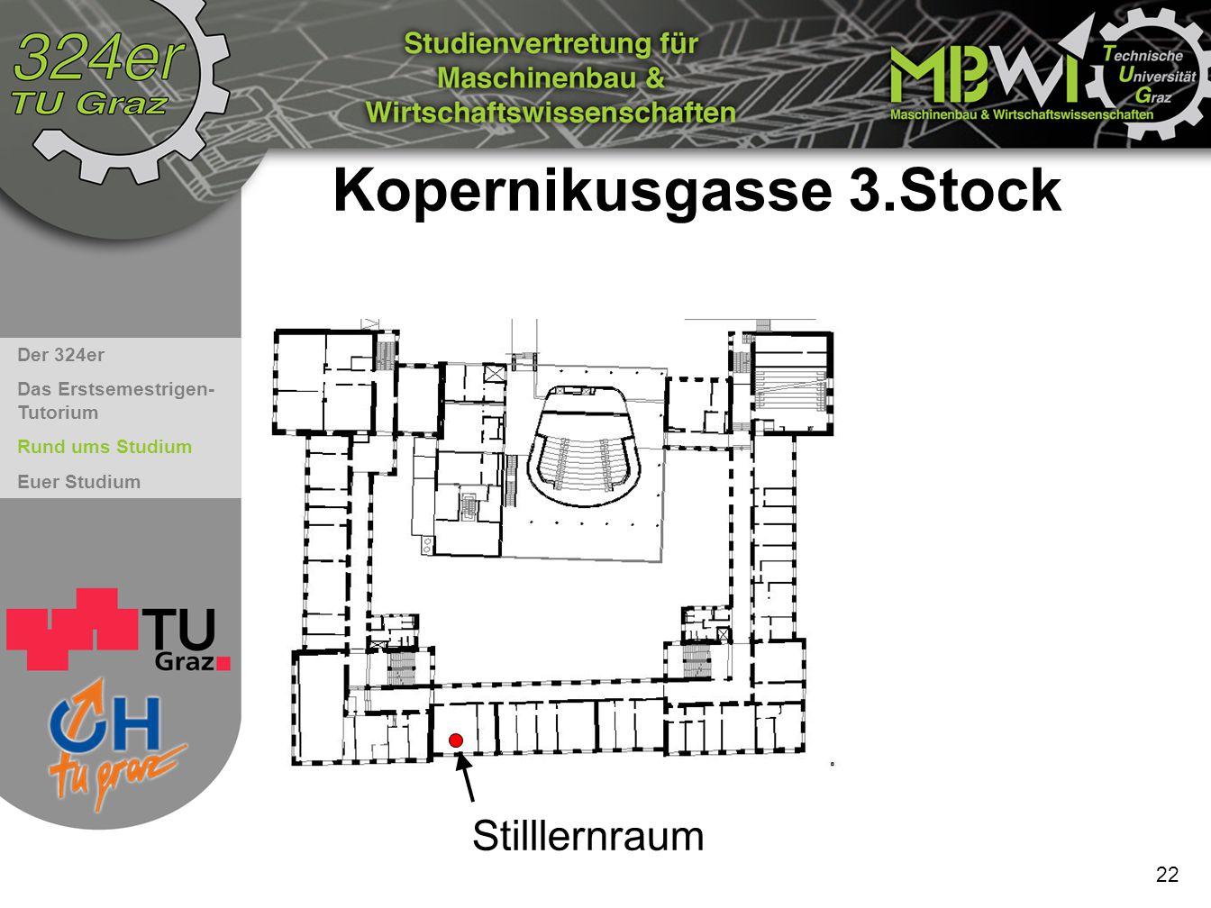 Der 324er Das Erstsemestrigen- Tutorium Rund ums Studium Euer Studium Kopernikusgasse 3.Stock 22 Stilllernraum