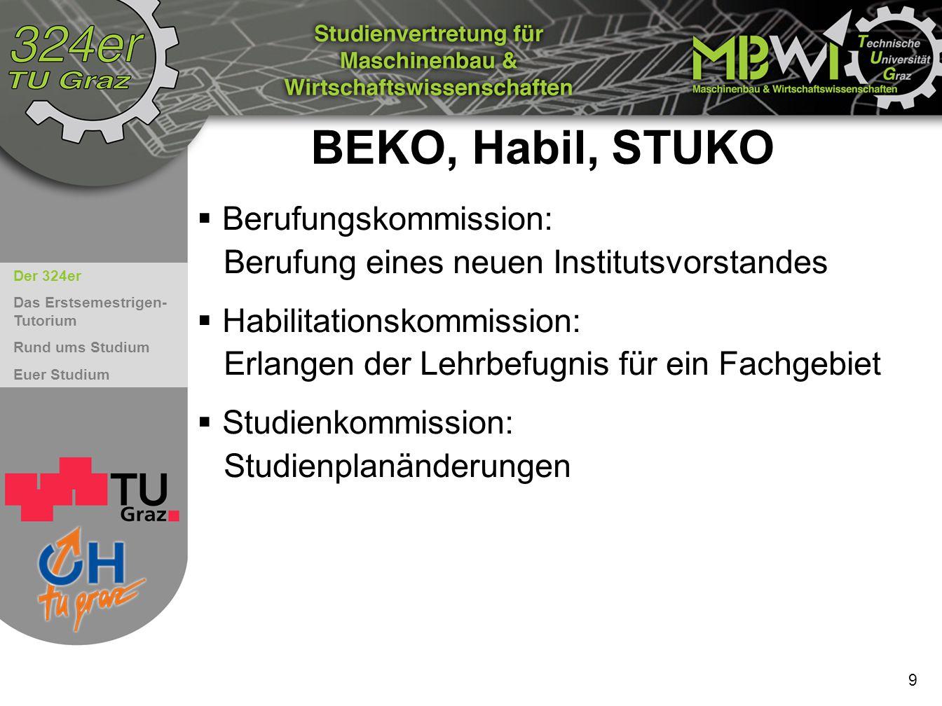 Der 324er Das Erstsemestrigen- Tutorium Rund ums Studium Euer Studium 9 BEKO, Habil, STUKO  Berufungskommission: Berufung eines neuen Institutsvorsta