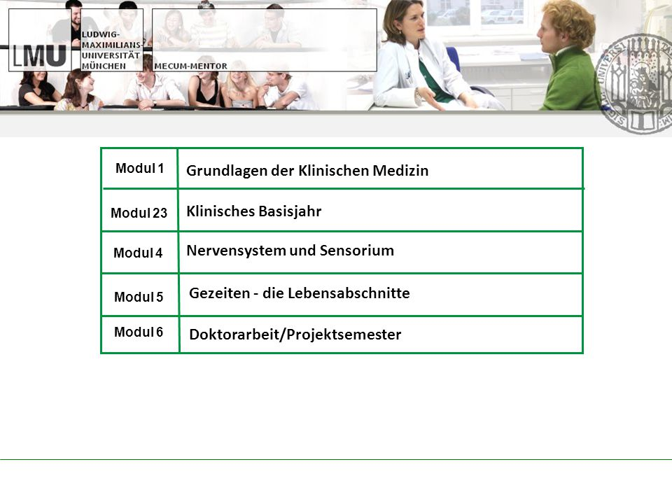 Modul 1 Modul 23 Modul 4 Modul 5 Modul 6 Grundlagen der Klinischen Medizin Klinisches Basisjahr Nervensystem und Sensorium Gezeiten - die Lebensabschnitte Doktorarbeit/Projektsemester