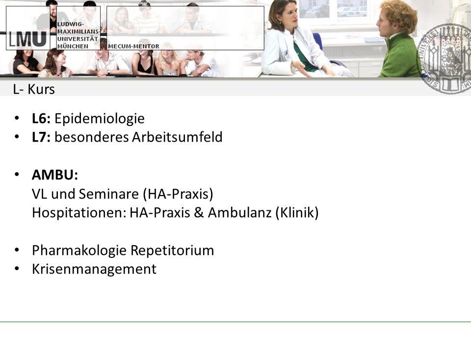 L- Kurs L6: Epidemiologie L7: besonderes Arbeitsumfeld AMBU: VL und Seminare (HA-Praxis) Hospitationen: HA-Praxis & Ambulanz (Klinik) Pharmakologie Repetitorium Krisenmanagement