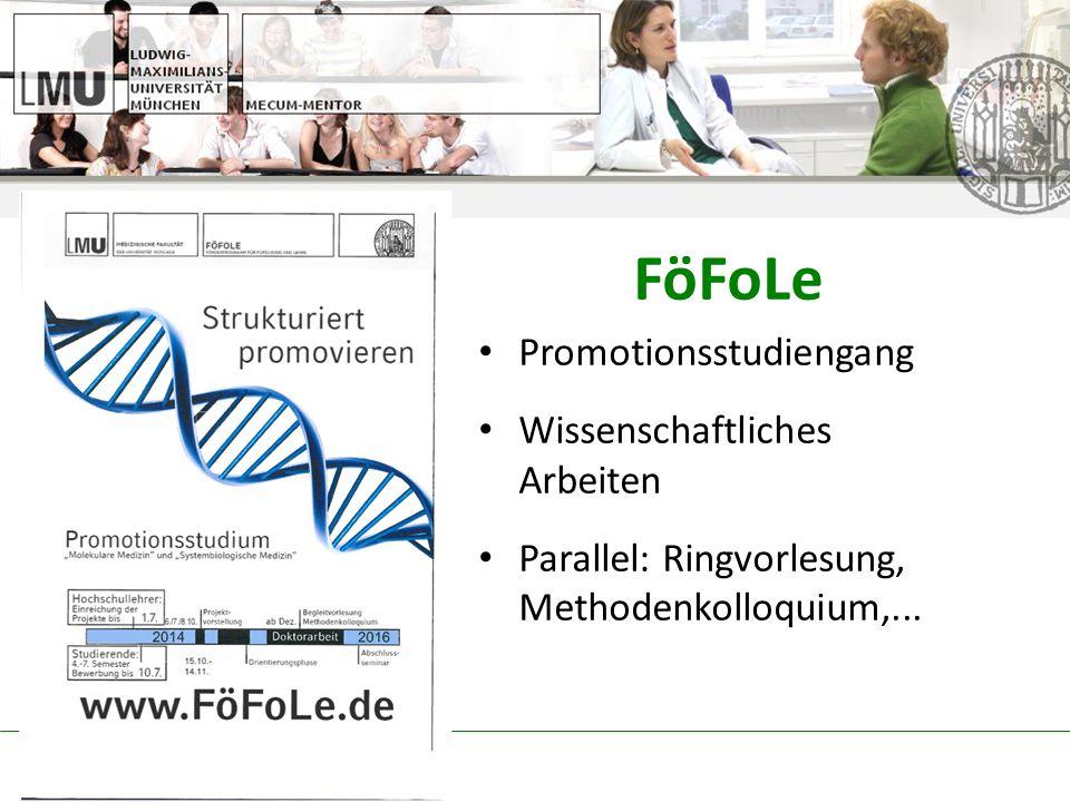 FöFoLe Promotionsstudiengang Wissenschaftliches Arbeiten Parallel: Ringvorlesung, Methodenkolloquium,...