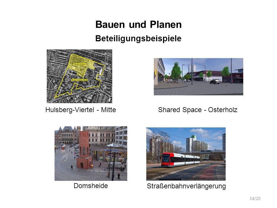 Bauen und Planen Beteiligungsbeispiele Hulsberg-Viertel - MitteShared Space - Osterholz Domsheide Straßenbahnverlängerung 14/20