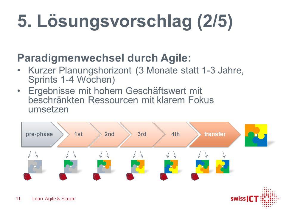 5. Lösungsvorschlag (2/5) Paradigmenwechsel durch Agile: Kurzer Planungshorizont (3 Monate statt 1-3 Jahre, Sprints 1-4 Wochen) Ergebnisse mit hohem G