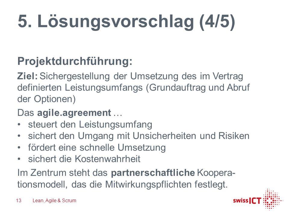 5. Lösungsvorschlag (4/5) Projektdurchführung: Ziel: Sichergestellung der Umsetzung des im Vertrag definierten Leistungsumfangs (Grundauftrag und Abru