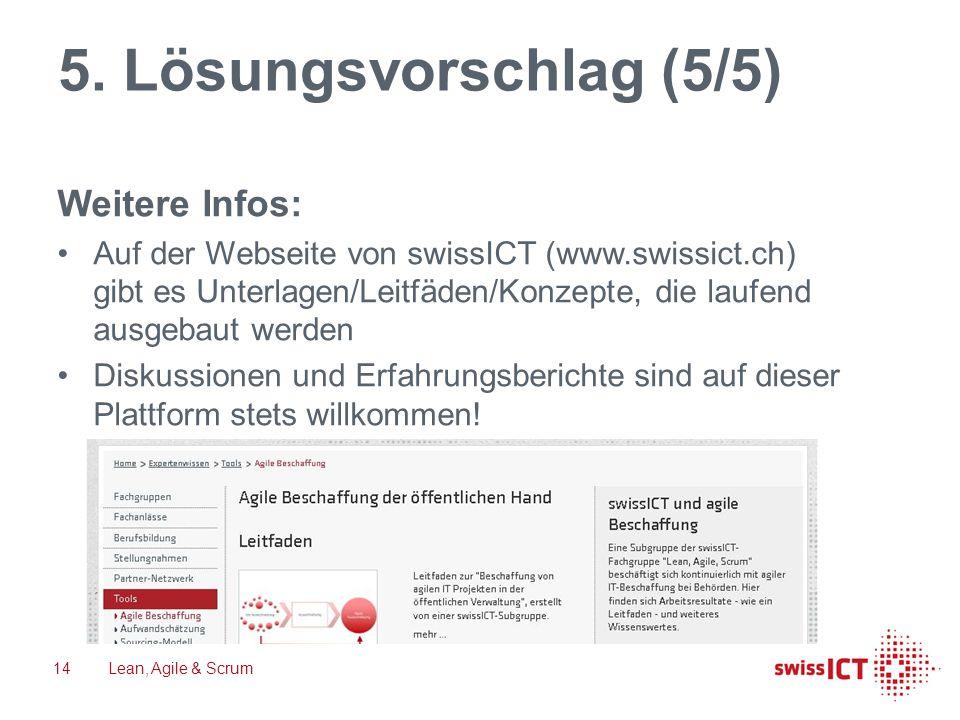 5. Lösungsvorschlag (5/5) Weitere Infos: Auf der Webseite von swissICT (www.swissict.ch) gibt es Unterlagen/Leitfäden/Konzepte, die laufend ausgebaut