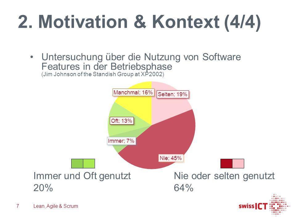 2. Motivation & Kontext (4/4) Lean, Agile & Scrum7 Untersuchung über die Nutzung von Software Features in der Betriebsphase (Jim Johnson of the Standi