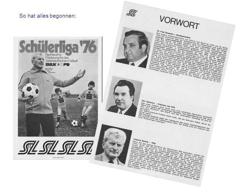 Mit dieser ersten Ausschreibung war der Startschuss für den neuen Fußballbewerb in Schulen gegeben,...der bis heute immer noch existiert !!
