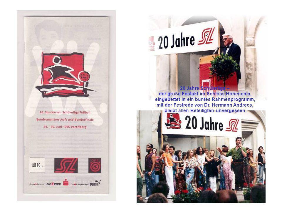 20 Jahre Schülerliga – der große Festakt im Schloss Hohenems, eingebettet in ein buntes Rahmenprogramm, mit der Festrede von Dr. Hermann Andrecs, blei