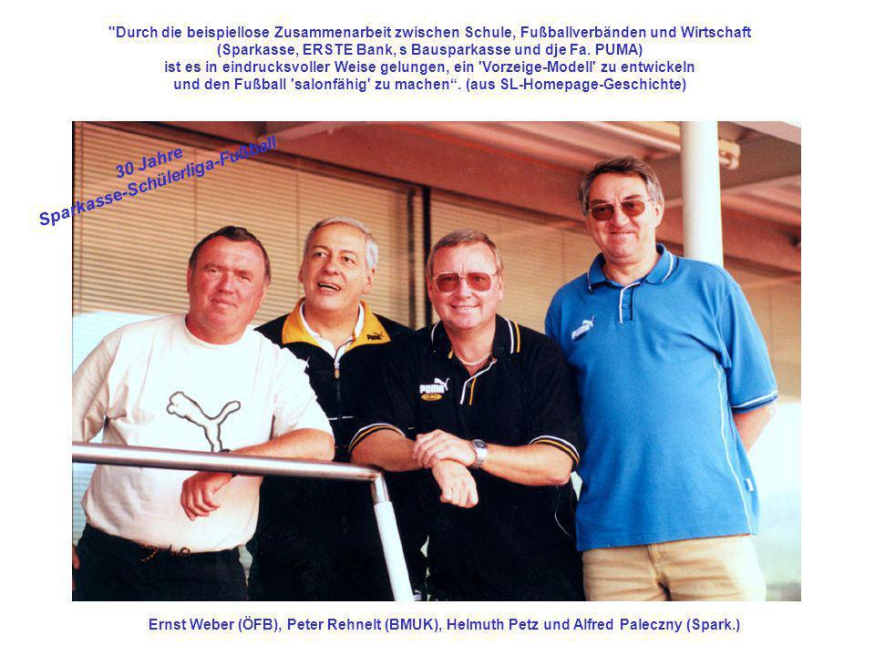 Ernst Weber (ÖFB), Peter Rehnelt (BMUK), Helmuth Petz und Alfred Paleczny (Spark.)