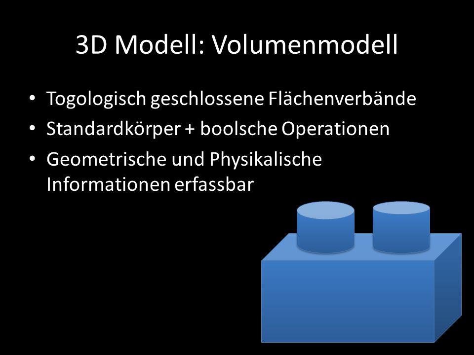 3D Modell: Volumenmodell Togologisch geschlossene Flächenverbände Standardkörper + boolsche Operationen Geometrische und Physikalische Informationen e