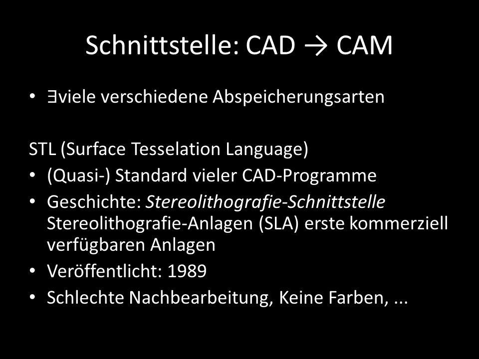 Schnittstelle: CAD → CAM ∃ viele verschiedene Abspeicherungsarten STL (Surface Tesselation Language) (Quasi-) Standard vieler CAD-Programme Geschichte
