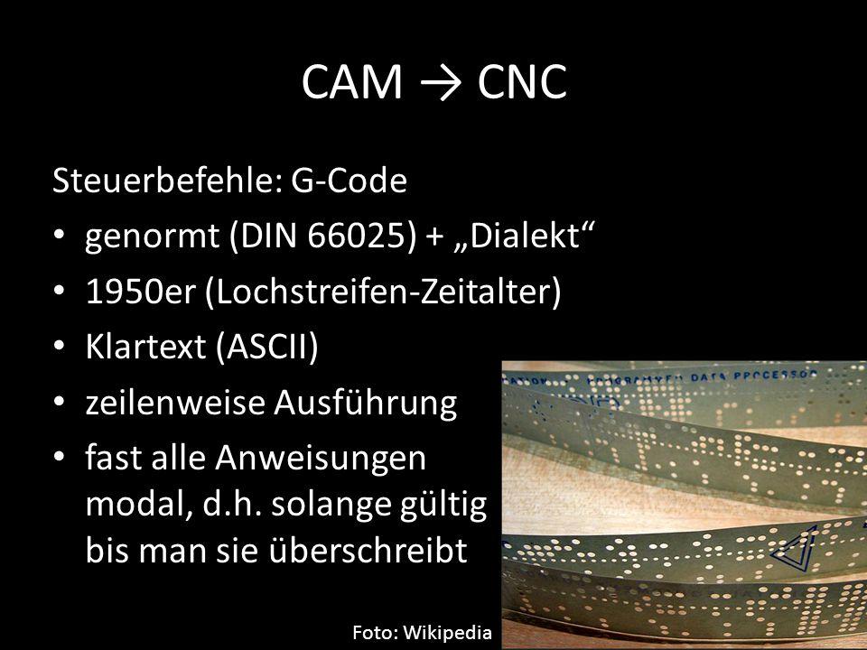 """CAM → CNC Steuerbefehle: G-Code genormt (DIN 66025) + """"Dialekt"""" 1950er (Lochstreifen-Zeitalter) Klartext (ASCII) zeilenweise Ausführung fast alle Anwe"""