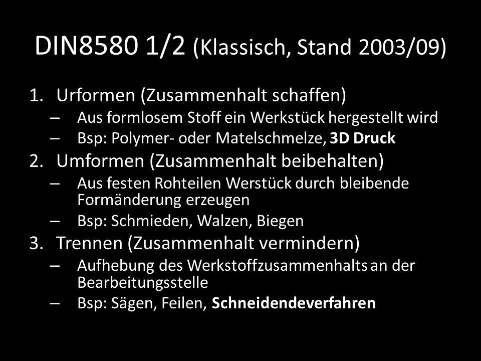 DIN8580 1/2 (Klassisch, Stand 2003/09) 1.Urformen (Zusammenhalt schaffen) – Aus formlosem Stoff ein Werkstück hergestellt wird – Bsp: Polymer- oder Ma
