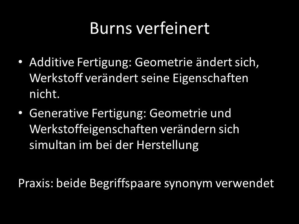 Burns verfeinert Additive Fertigung: Geometrie ändert sich, Werkstoff verändert seine Eigenschaften nicht. Generative Fertigung: Geometrie und Werksto