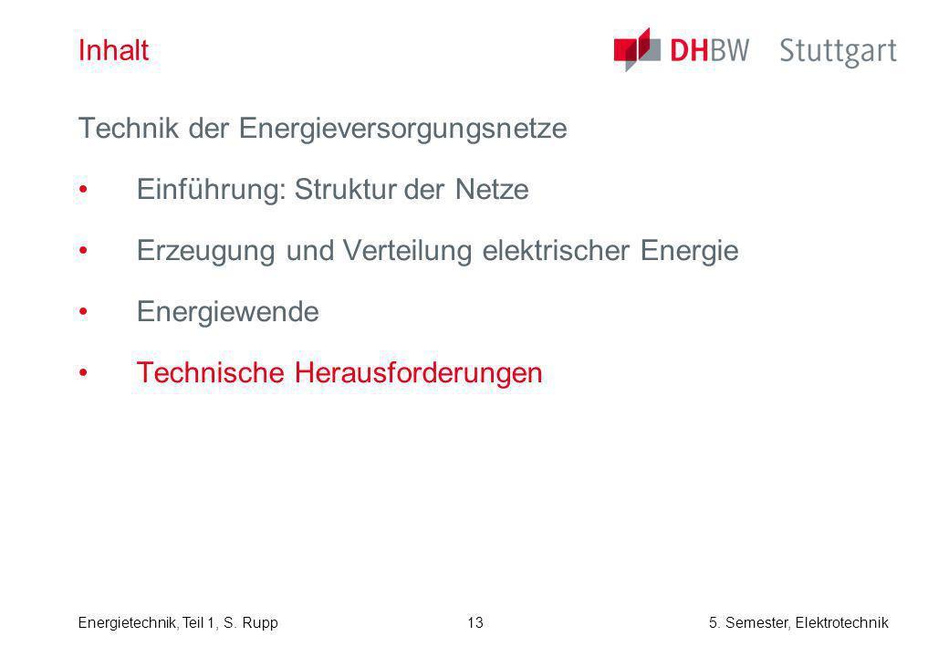 Energietechnik, Teil 1, S. Rupp5. Semester, Elektrotechnik 13 Inhalt Technik der Energieversorgungsnetze Einführung: Struktur der Netze Erzeugung und