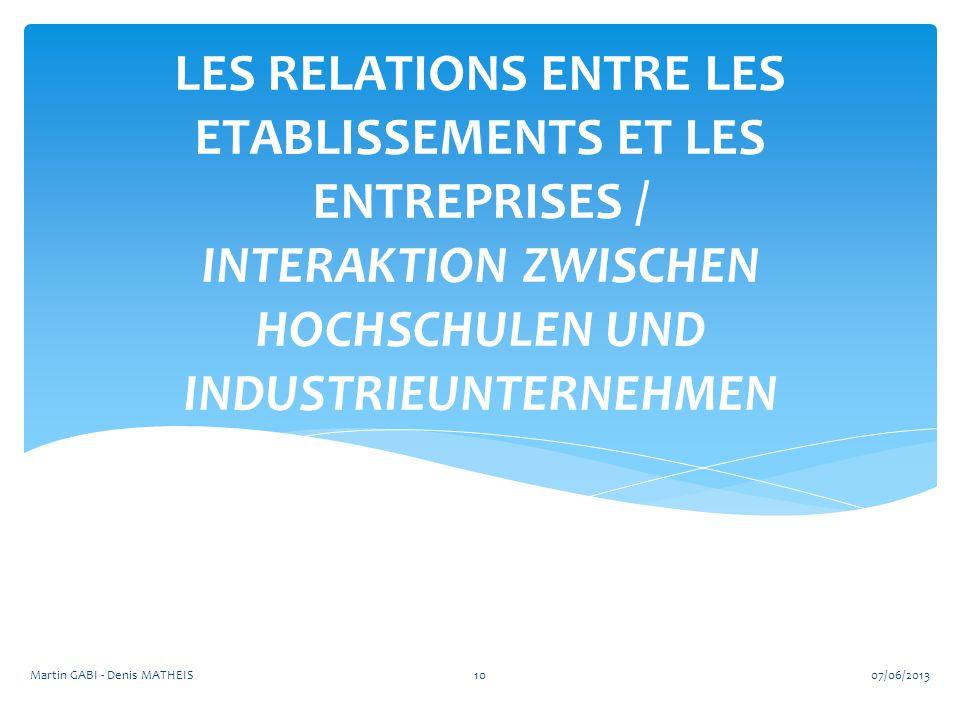 LES RELATIONS ENTRE LES ETABLISSEMENTS ET LES ENTREPRISES / INTERAKTION ZWISCHEN HOCHSCHULEN UND INDUSTRIEUNTERNEHMEN 1007/06/2013Martin GABI - Denis MATHEIS