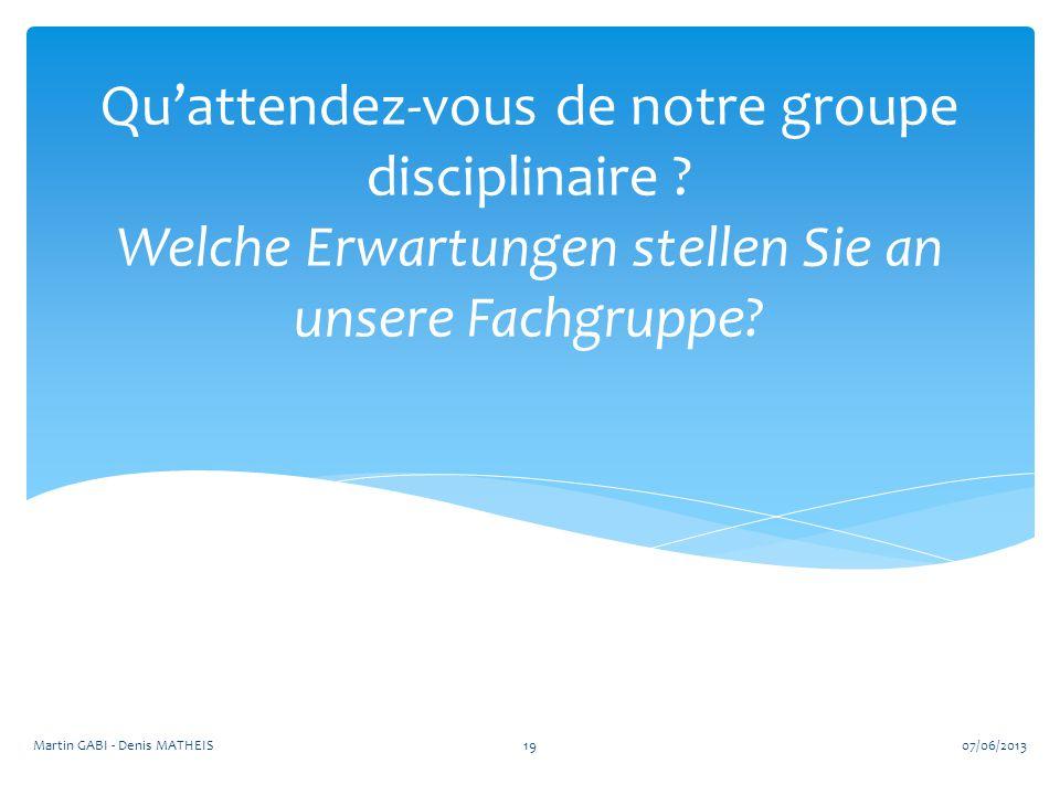 Qu'attendez-vous de notre groupe disciplinaire ? Welche Erwartungen stellen Sie an unsere Fachgruppe? 1907/06/2013Martin GABI - Denis MATHEIS