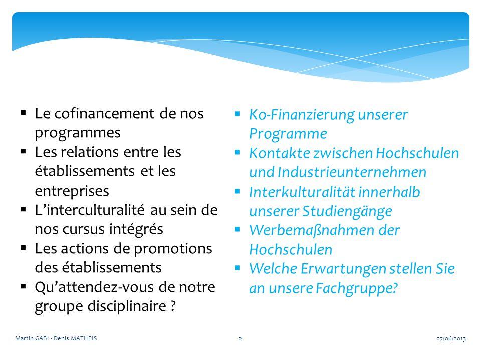 2  Le cofinancement de nos programmes  Les relations entre les établissements et les entreprises  L'interculturalité au sein de nos cursus intégrés  Les actions de promotions des établissements  Qu'attendez-vous de notre groupe disciplinaire .