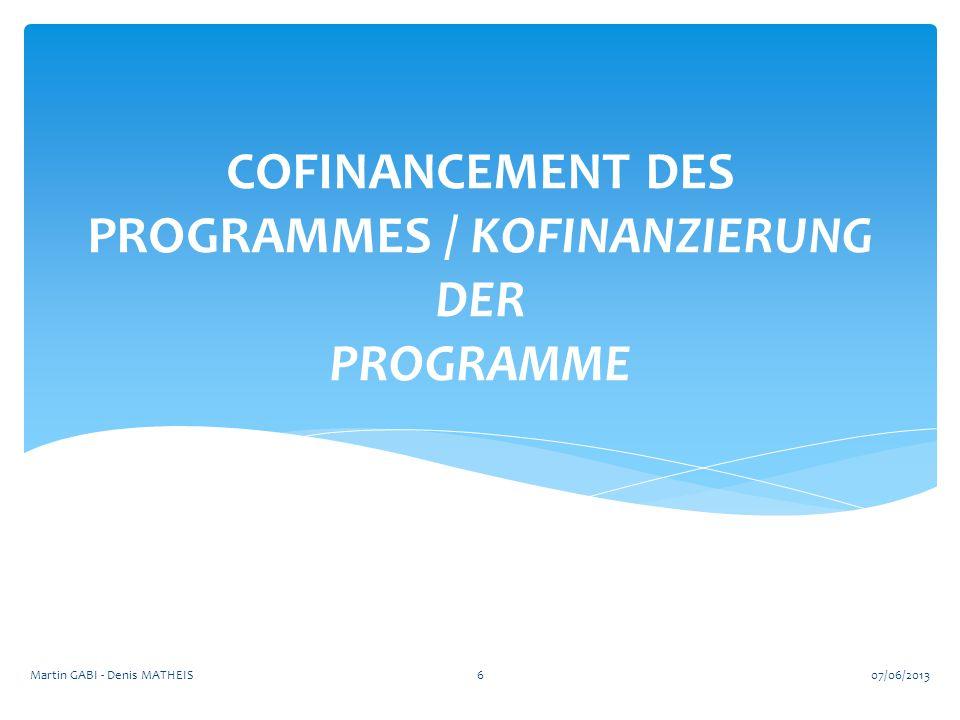COFINANCEMENT DES PROGRAMMES / KOFINANZIERUNG DER PROGRAMME 607/06/2013Martin GABI - Denis MATHEIS