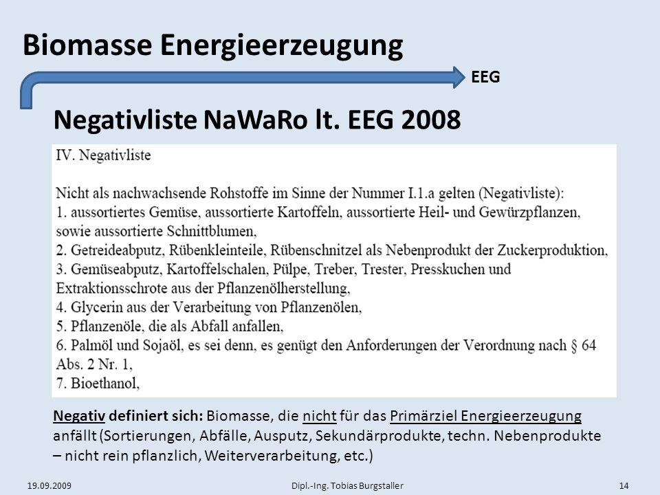 19.09.2009 Dipl.-Ing. Tobias Burgstaller 14 Biomasse Energieerzeugung Negativliste NaWaRo lt. EEG 2008 EEG Negativ definiert sich: Biomasse, die nicht