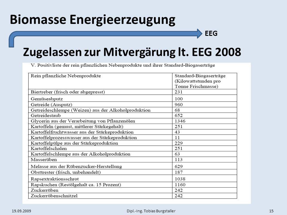 19.09.2009 Dipl.-Ing. Tobias Burgstaller 15 Biomasse Energieerzeugung Zugelassen zur Mitvergärung lt. EEG 2008 EEG