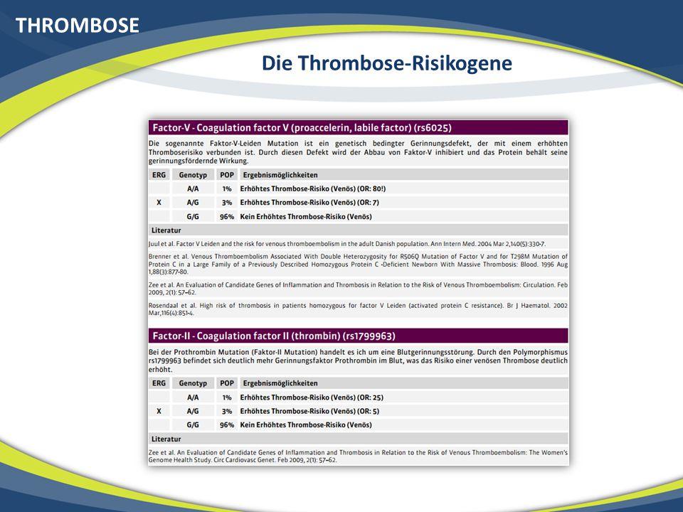 THROMBOSE Die Thrombose-Risikogene