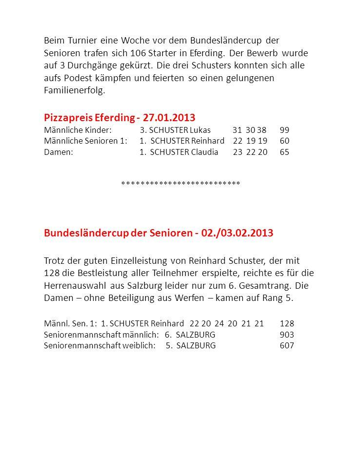 Bundesländercup der Allgemeinen Klasse und Jugend - 16./17.02.2013 Einen überraschenden dritten Rang erspielte die Landesauswahl der Jugend mit dem Werfener Lukas Schuster.