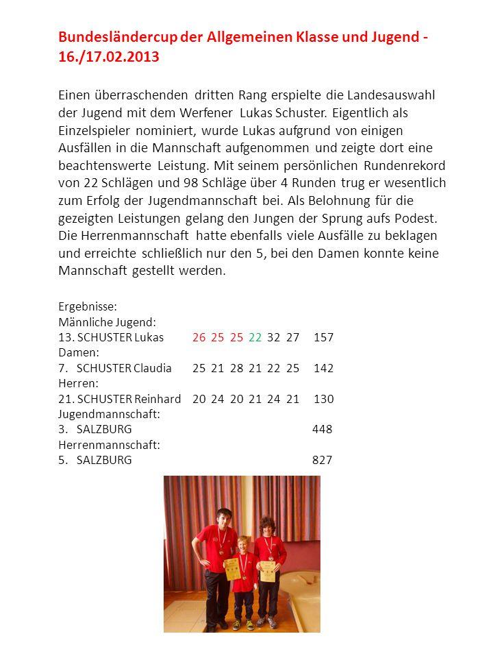 Bundesländercup der Allgemeinen Klasse und Jugend - 16./17.02.2013 Einen überraschenden dritten Rang erspielte die Landesauswahl der Jugend mit dem We